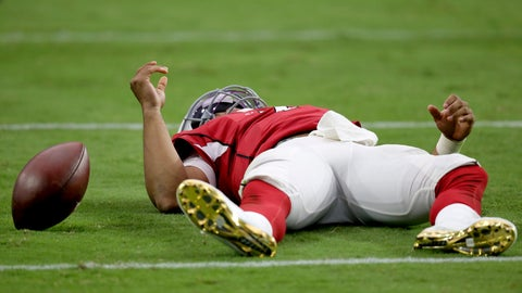 <p>               Arizona Cardinals quarterback Kyler Murray lies on the turf after being sacked against the Carolina Panthers during the second half of an NFL football game, Sunday, Sept. 22, 2019, in Glendale, Ariz. The Panthers won 38-20. (AP Photo/Ross D. Franklin)             </p>