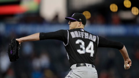 <p>               Colorado Rockies pitcher Jeff Hoffman works against the San Francisco Giants during the first inning of a baseball game Tuesday, Sept. 24, 2019, in San Francisco. (AP Photo/Ben Margot)             </p>