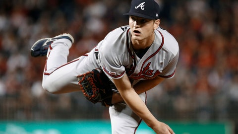 <p>               Atlanta Braves starting pitcher Mike Soroka follows through on a pitch to a Washington Nationals batter during the second inning of a baseball game, Friday, Sept. 13, 2019, in Washington. (AP Photo/Patrick Semansky)             </p>