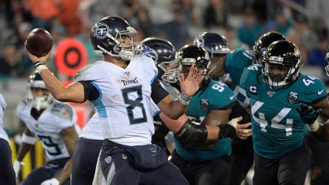 <p>               Tennessee Titans quarterback Marcus Mariota (8) fires a pass against the Jacksonville Jaguars during the first half of an NFL football game Thursday, Sept. 19, 2019, in Jacksonville, Fla. (AP Photo/Phelan Ebenhack)             </p>