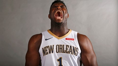 <p>               New Orleans Pelicans first round draft pick Zion Williamson lets out a fake yell during a photo shoot during their NBA basketball media day in Metairie, La., Monday, Sept. 30, 2019. (AP Photo/Gerald Herbert)             </p>