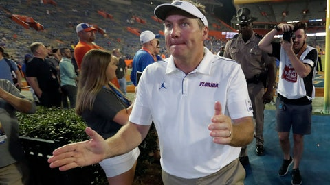 <p>               Florida head coach Dan Mullen acknowledges fans as he comes off the field after an NCAA college football game against UT Martin, Saturday, Sept. 7, 2019, in Gainesville, Fla. (AP Photo/John Raoux)             </p>