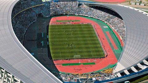"""<p>               This June 9, 2002, aerial photo shows Miyagi Stadium during a World Cup soccer match between Mexico and Ecuador in Rifu town, Miyagi prefecture, northern Japan. Rifu Mayor Yutaka Kumagai criticized the central government over its failure to use the 2020 Tokyo Olympics to help in the reconstruction of the region on Saturday, Sept. 14, 2019.""""There is no help from the government, we don't have any budget from them, none,"""" Kumagai made the comments during a media tour of Miyagi Stadium which will host men's and women's football at the 2020 Olympics. (Kyodo News via AP)             </p>"""
