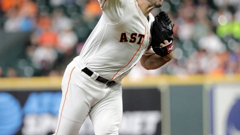 <p>               Houston Astros starting pitcher Justin Verlander throws against the Texas Rangers during the first inning of a baseball game Tuesday, Sept. 17, 2019, in Houston. (AP Photo/David J. Phillip)             </p>