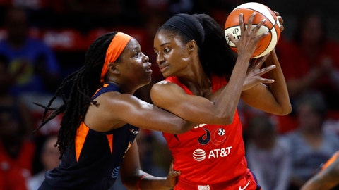 <p>               Washington Mystics forward LaToya Sanders, right, protects the ball from Connecticut Sun forward Jonquel Jones in the first half of Game 1 of basketball's WNBA Finals, Sunday, Sept. 29, 2019, in Washington. (AP Photo/Patrick Semansky)             </p>