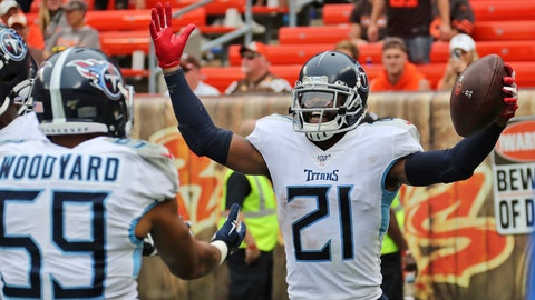 <p>               Tennessee Titans cornerback Malcolm Butler (21) celebrates with teammates after Butler intercepted for a 38-yard touchdown during the second half in an NFL football game, Sunday, Sept. 8, 2019, in Cleveland. The Titans won 43-13. (AP Photo/Ron Schwane)             </p>