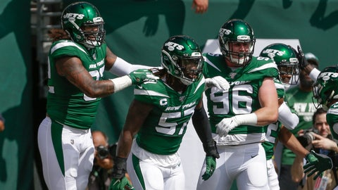 <p>               New York Jets inside linebacker C.J. Mosley (57) celebrates with teammates after running back an interception for a touchdown during the first half of an NFL football game against the Buffalo Bills Sunday, Sept. 8, 2019, in East Rutherford, N.J. (AP Photo/Seth Wenig)             </p>