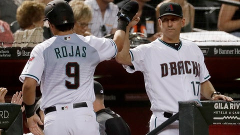 <p>               Arizona Diamondbacks' Josh Rojas (9) high-fives manager Torey Lovullo after scoring on a base hit by Jake Lamb during the first inning of a baseball game against the San Diego Padres on Tuesday, Sept. 3, 2019, in Phoenix. (AP Photo/Matt York)             </p>