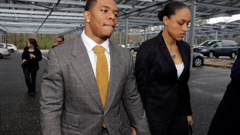 <p>               FILE - In this May 1, 2014, file photo, Baltimore Ravens football player Ray Rice holds hands with his wife, Janay, as they arrive at the Atlantic County Criminal Courthouse in Mays Landing, N.J. NFL Commissioner Roger Goodell initially suspended Rice for two games after he was charged with third-degree aggravated assault for hitting his then-fiancee in an elevator in Atlantic City. The couple married a month later. Rice was cut by the Ravens in September 2014 after a video emerged showing him knocking her unconscious and dragging her from the elevator. Goodell then suspended Rice indefinitely and the league implemented its new policy. Rice pleaded not guilty to aggravated assault and applied to a program for first-time offenders. A neutral arbitrator vacated Rice's suspension in November but the three-time Pro Bowl pick hasn't played in the league again. (AP Photo/Mel Evans, File)             </p>