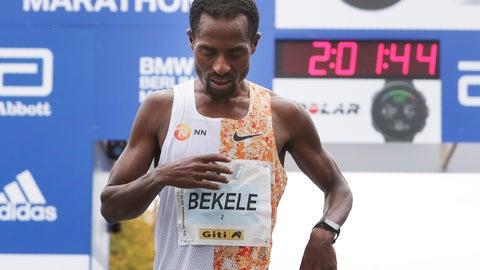 <p>               Ethiopia's Kenenisa Bekele has crossed the finish line to win the 46th Berlin marathon in Berlin, Germany, Sunday, Sept. 29, 2019. (AP Photo/Michael Sohn)             </p>