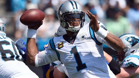 <p>               Carolina Panthers quarterback Cam Newton (1) looks to pass against the Los Angeles Rams during the first half an NFL football game in Charlotte, N.C., Sunday, Sept. 8, 2019. (AP Photo/Mike McCarn)             </p>