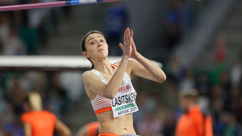 <p>               Mariya Lasitskene competes in the women's high jump final during the Match Europe against USA athletics competition on the Dinamo stadium in Minsk, Belarus, Tuesday, Sept. 10, 2019. (AP Photo/Sergei Grits)             </p>