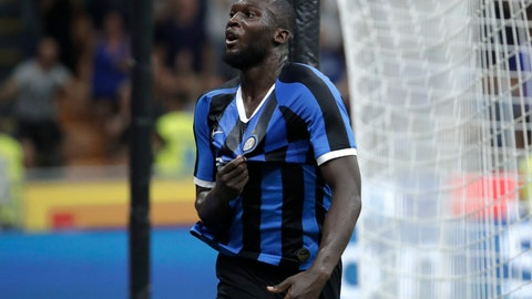 <p>               Inter Milan's Romelu Lukaku celebrates after scoring his side's third goal during the Serie A soccer match between Inter Milan and Lecce at the San Siro stadium, in Milan, Italy, Monday, Aug. 26, 2019. (AP Photo/Luca Bruno)             </p>