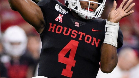 <p>               Houston quarterback D'Eriq King throws a pass during the first half of the team's NCAA college football game against Washington State, Friday, Sept. 13, 2019, in Houston. (AP Photo/Eric Christian Smith)             </p>