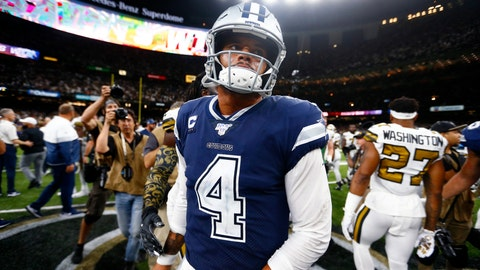 <p>               Dallas Cowboys quarterback Dak Prescott (4) walks off the field after an NFL football game against the New Orleans Saints in New Orleans, Sunday, Sept. 29, 2019. The Saints won 12-10. (AP Photo/Butch Dill)             </p>
