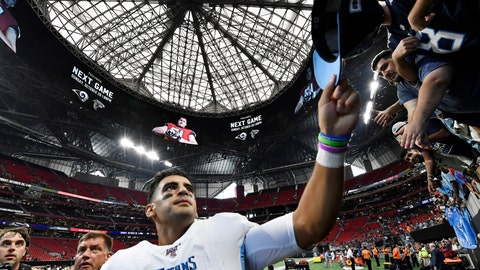 <p>               Tennessee Titans quarterback Marcus Mariota gives his hat to fans after an NFL football gameagainst the Atlanta Falcons, Sunday, Sept. 29, 2019, in Atlanta. The Tennessee Titans won 24-10. (AP Photo/John Amis)             </p>