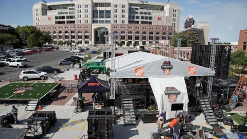 """<p>               Workers set up the ESPN College GameDay stage in front of Memorial Stadium in Lincoln, Neb., Thursday, Sept. 26, 2019. Nebraska's NCAA college football game against No. 5 Ohio State on Saturday night was always going to be a big one. Add a visit from ESPN's """"College GameDay"""" show in the morning, and it becomes huge. (AP Photo/Nati Harnik)             </p>"""