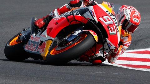 <p>               Race winner Spain's Marc Marquez steers his motorbike during the San Marino Motorcycle Grand Prix at the Misano circuit in Misano Adriatico, Italy, Sunday, Sept. 15, 2019. (AP Photo/Antonio Calanni)             </p>