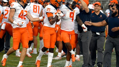 <p>               Illinois wide receiver Josh Imatorbhebhe (9) celebrates with his teammates after an interception against Connecticut late in the fourth quarter of an NCAA college football game, Saturday, Sept. 7, 2019, in East Hartford, Conn. (AP Photo/Jessica Hill)             </p>