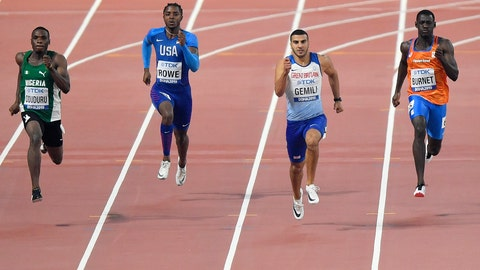 <p>               Divine Oduduro, of Nigeria, Rodney Rowe, of the United States, Adam Gemili, of Great Britain, and Taymir Burnet, of the Netherlands,, from left to right, compete in the men's 200 meter heats during the World Athletics Championships in Doha, Qatar, Sunday, Sept. 29, 2019. (AP Photo/Martin Meissner)             </p>