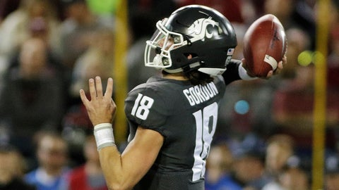 <p>               Washington State quarterback Anthony Gordon (18) throws a pass during the first half of an NCAA college football game against UCLA in Pullman, Wash., Saturday, Sept. 21, 2019. (AP Photo/Young Kwak)             </p>
