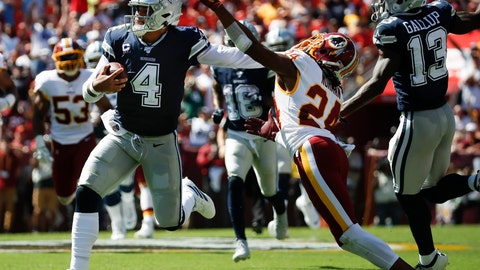 <p>               Dallas Cowboys quarterback Dak Prescott (4) breaks away from Washington Redskins cornerback Josh Norman (24) to run downfield in the first half of an NFL football game, Sunday, Sept. 15, 2019, in Landover, Md. Also on the field is Dallas Cowboys wide receiver Michael Gallup (13). (AP Photo/Alex Brandon)             </p>