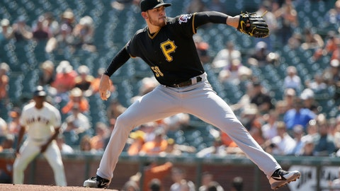 <p>               Pittsburgh Pirates starting pitcher Joe Musgrove works in the first inning of a baseball game against the San Francisco Giants, Thursday, Sept. 12, 2019, in San Francisco. (AP Photo/Eric Risberg)             </p>