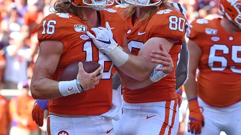 <p>               Clemson's Trevor Lawrence, left, and Luke Price celebrate Lawrence's touchdown during the first half of an NCAA college football game against Texas A&M, Saturday, Sept. 7, 2019, in Clemson, S.C. (AP Photo/Richard Shiro)             </p>