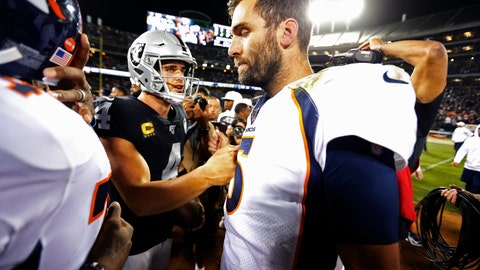 <p>               Denver Broncos quarterback Joe Flacco, right, is met by Oakland Raiders quarterback Derek Carr at the end of an NFL football game Monday, Sept. 9, 2019, in Oakland, Calif. Oakland won the game 24-16. (AP Photo/D. Ross Cameron)             </p>