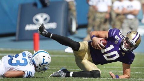 <p>               Washington quarterback Jacob Eason (10) is sacked by BYU linebacker Isaiah Kaufusi (53) in the first half of an NCAA college football game, Saturday, Sept. 21, 2019, in Provo, Utah. (AP Photo/George Frey)             </p>