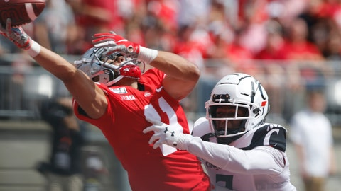 <p>               Cincinnati defensive back Coby Bryant, right, interferes with Ohio State receiver Austin Mack trying to catch a pass during the second half of an NCAA college football game Saturday, Sept. 7, 2019, in Columbus, Ohio. Bryant was penalized on the play. Ohio State beat Cincinnati 42-0. (AP Photo/Jay LaPrete)             </p>