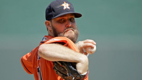 <p>               Houston Astros starting pitcher Wade Miley throws during the first inning of a baseball game against the Kansas City Royals, Sunday, Sept. 15, 2019, in Kansas City, Mo. (AP Photo/Charlie Riedel)             </p>