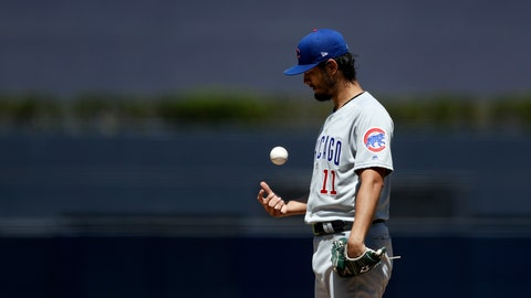 <p>               Chicago Cubs starting pitcher Yu Darvish tosses the ball as he works against a San Diego Padres batter during the first inning of a baseball game Thursday, Sept. 12, 2019, in San Diego. (AP Photo/Gregory Bull)             </p>