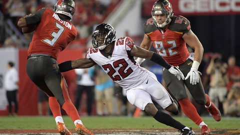 <p>               FILE - In this Dec. 18, 2017, file photo, Atlanta Falcons strong safety Keanu Neal (22) pressures Tampa Bay Buccaneers quarterback Jameis Winston (3) during the second half of an NFL football game in Tampa, Fla. The Falcons won 24-21. Neal is one of several key defensive players back from injury for the Falcons after a disappointing season in 2018. (AP Photo/Phelan M. Ebenhack, File)             </p>