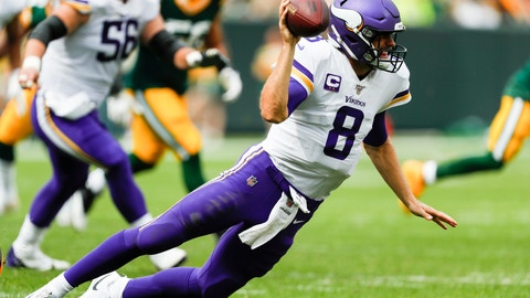 <p>               Minnesota Vikings' Kirk Cousins throws as he falls during the second half of an NFL football game against the Green Bay Packers Sunday, Sept. 15, 2019, in Green Bay, Wis. (AP Photo/Matt Ludtke)             </p>