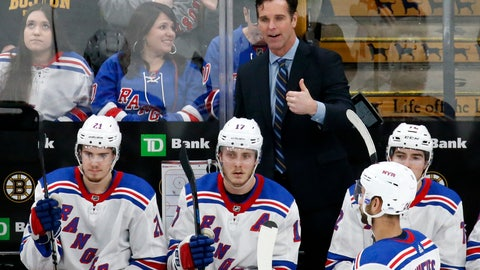 <p>               FILE - In this Jan. 19, 2019, file photo, New York Rangers coach David Quinn gestures from the bench during the third period of the team's NHL hockey game against the Boston Bruins in Boston. The Rangers head into their first practice of training camp with the belief they are ready to take the next step in the second year under Quinn. (AP Photo/Mary Schwalm, File)             </p>