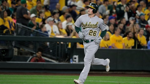 <p>               Oakland Athletics' Matt Chapman runs the bases after hitting a two-run home run during the second inning of the team's baseball game against the Seattle Mariners, Thursday, Sept. 26, 2019, in Seattle. (AP Photo/Ted S. Warren)             </p>