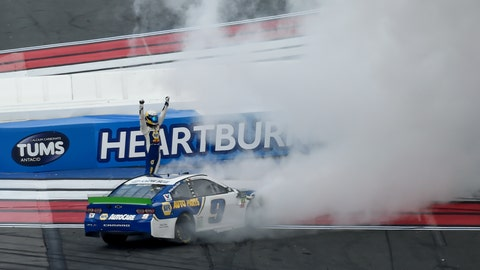 <p>               Chase Elliott (9) celebrates after winning a NASCAR Cup Series auto race at Charlotte Motor Speedway, Sunday, Sept. 29, 2019, in Concord, N.C. (AP Photo/Mike McCarn)             </p>