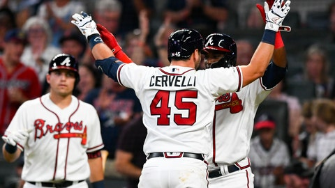 <p>               Atlanta Braves' Francisco Cervelli (45) celebrates his two-run home run at home plate with Adeiny Hechavarria during the fifth inning of a baseball game against the San Francisco Giants, Saturday, Sept. 21, 2019, in Atlanta.(AP Photo/John Amis)             </p>