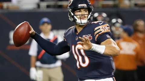 <p>               Chicago Bears' Mitchell Trubisky throws during the second half of an NFL football game against the Green Bay Packers Thursday, Sept. 5, 2019, in Chicago. (AP Photo/Charles Rex Arbogast)             </p>