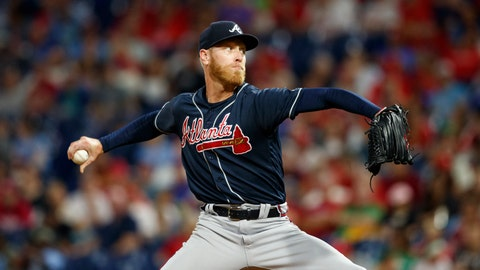 <p>               Atlanta Braves' Mike Foltynewicz pitches during the second inning of a baseball game against the Philadelphia Phillies, Monday, Sept. 9, 2019, in Philadelphia. (AP Photo/Matt Slocum)             </p>