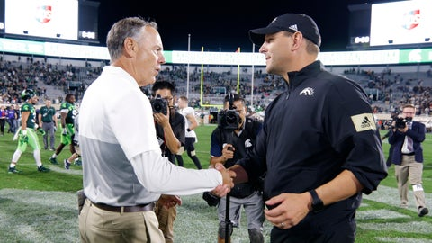 <p>               Michigan State coach Mark Dantonio, left, and Western Michigan coach Tim Lester shake hands following an NCAA college football game, Saturday, Sept. 7, 2019, in East Lansing, Mich. Michigan State won 51-17. (AP Photo/Al Goldis)             </p>