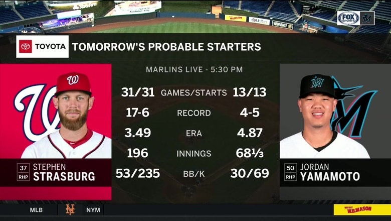 Jordan Yamamoto matches up against Stephen Strasburg in his return as Marlins starter