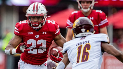 MADISON, WI - SEPTEMBER 07: Wisconsin Badgers running back Jonathan Taylor (23) looks for open space durning a college football game between the Central Michigan Chippewas and the Wisconsin Badgers on September 7, 2019, at Camp Randall Stadium in Madison, WI. (Photo by Dan Sanger/Icon Sportswire via Getty Images)