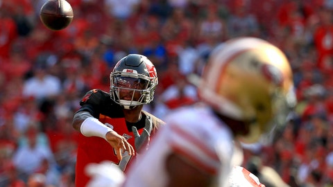 TAMPA, FLORIDA - SEPTEMBER 08: Jameis Winston #3 of the Tampa Bay Buccaneers passes during a game against the San Francisco 49ers at Raymond James Stadium on September 08, 2019 in Tampa, Florida. (Photo by Mike Ehrmann/Getty Images)