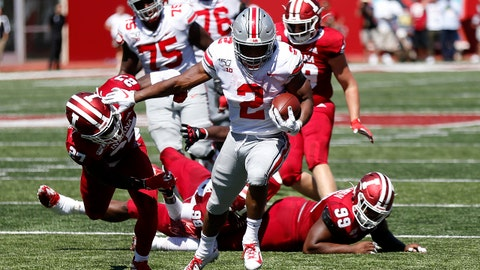 BLOOMINGTON, INDIANA - SEPTEMBER 14: J.K. Dobbins #2 of the Ohio State Buckeyes runs for a touchdown during the second quarter in the game against the Indiana Hoosiers at Memorial Stadium on September 14, 2019 in Bloomington, Indiana. (Photo by Justin Casterline/Getty Images)