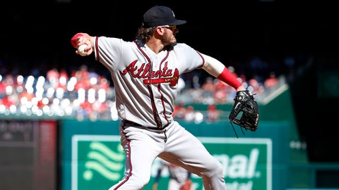 Sep 15, 2019; Washington, DC, USA; Atlanta Braves third baseman Josh Donaldson (20) throws the ball to first for an out against the Washington Nationals during the forth inning at Nationals Park. Mandatory Credit: Amber Searls-USA TODAY Sports