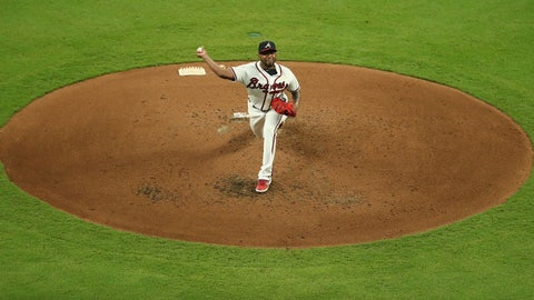 Sep 7, 2019; Atlanta, GA, USA; Atlanta Braves starting pitcher Julio Teheran (49) delivers a pitch to a Washington Nationals batter in the third inning at SunTrust Park. Mandatory Credit: Jason Getz-USA TODAY Sports