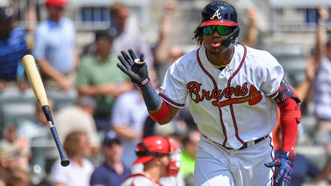 Sep 19, 2019; Atlanta, GA, USA; Atlanta Braves center fielder Ronald Acuna Jr. (13) tosses his bat after hitting a two run home run against the Philadelphia Phillies during the third inning at SunTrust Park. Mandatory Credit: Dale Zanine-USA TODAY Sports