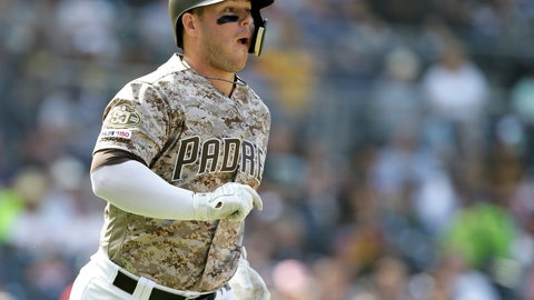 <p>               San Diego Padres' Ty France reacts after hitting a two-run home run against the Arizona Diamondbacks during the fourth inning of a baseball game in San Diego, Sunday, Sept. 22, 2019. (AP Photo/Alex Gallardo)             </p>